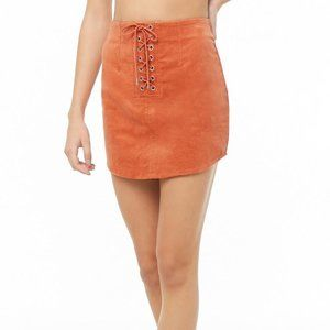 Forever 21 Womens Orange Corduroy Lace Up Skirt
